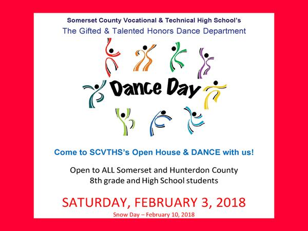 DANCE DAY OPEN HOUSE – SATURDAY, February 3, 2018