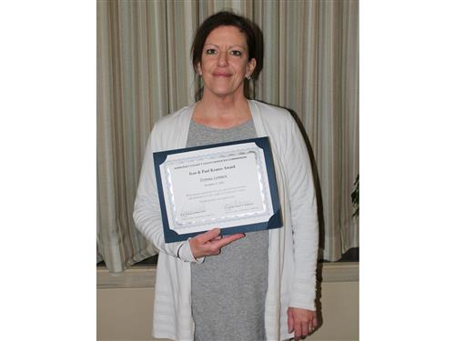 SCVTHS Mental Health & Substance Abuse Counselor Donna Lenox holds her award
