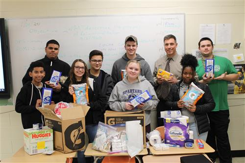 SCVTHS social studies students collected items for troops serving overseas