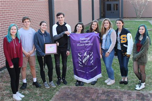 Members of the SCVTHS National Technical Honor Society with their Certificate of Appreciation.