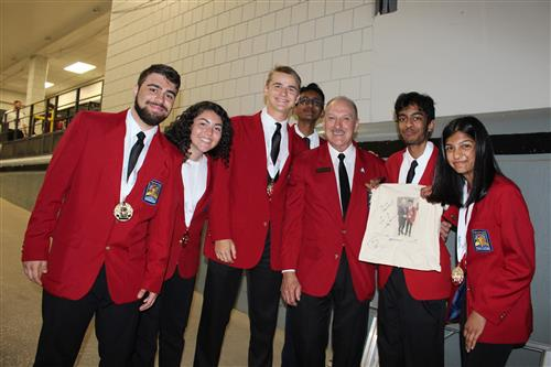 SCVTHS students from the gold-medal winning Quiz Bowl team after receiving their medals